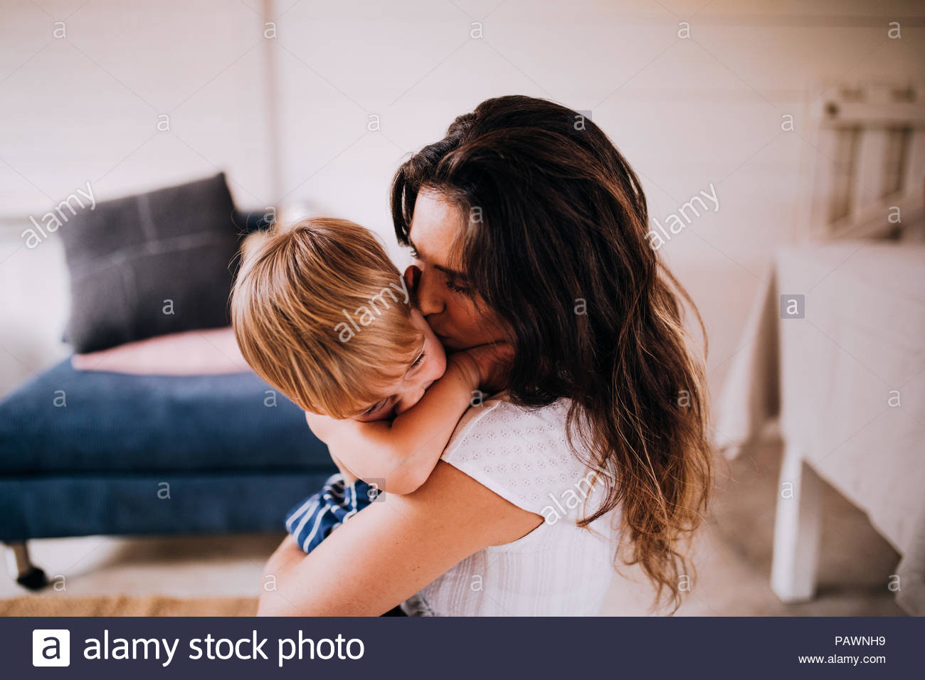 Cute little boy and his mother - Stock Image