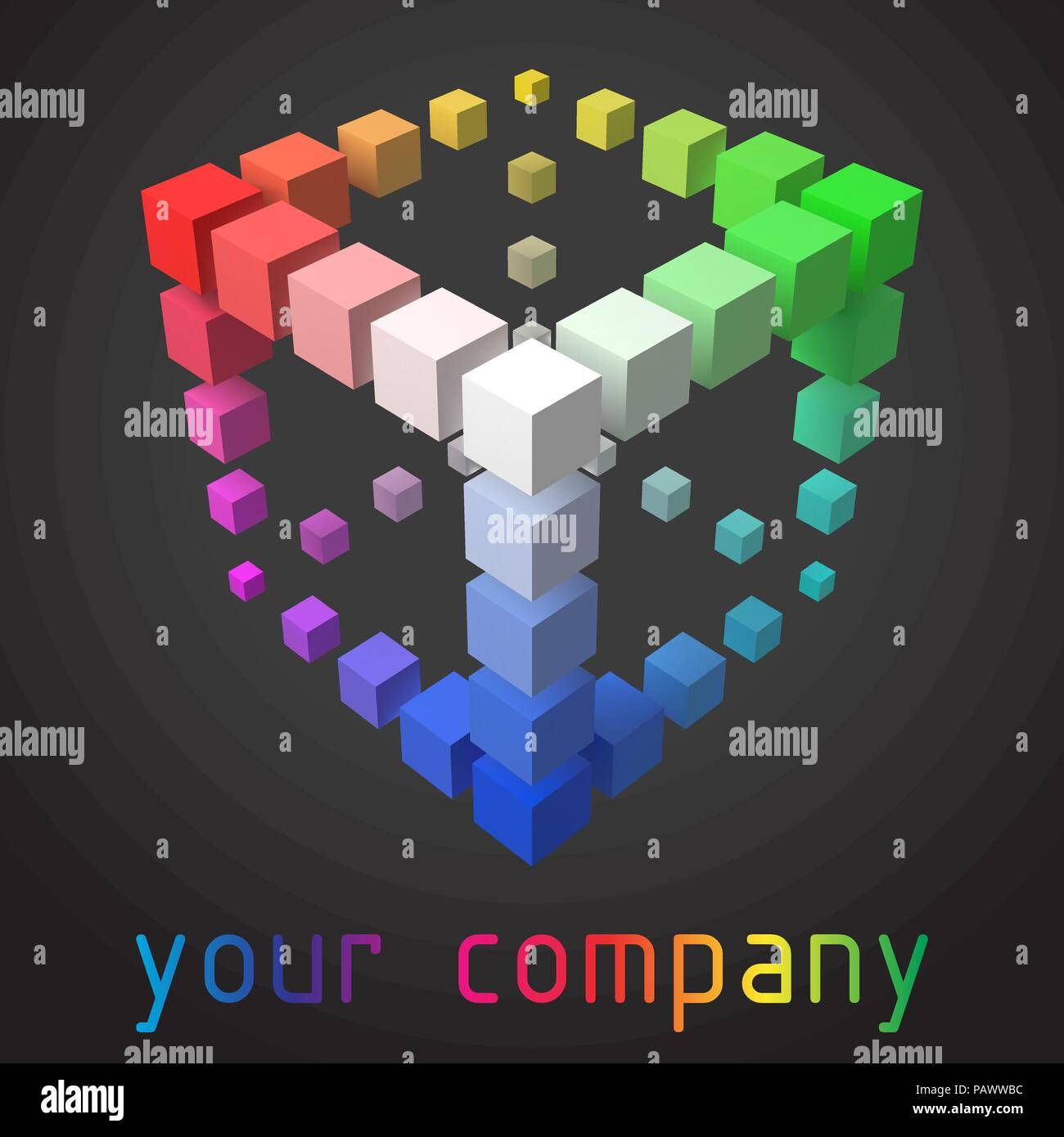 3d style vector logo design with cubes. suitable for presenting any company, organization or personal business in different industries. - Stock Vector