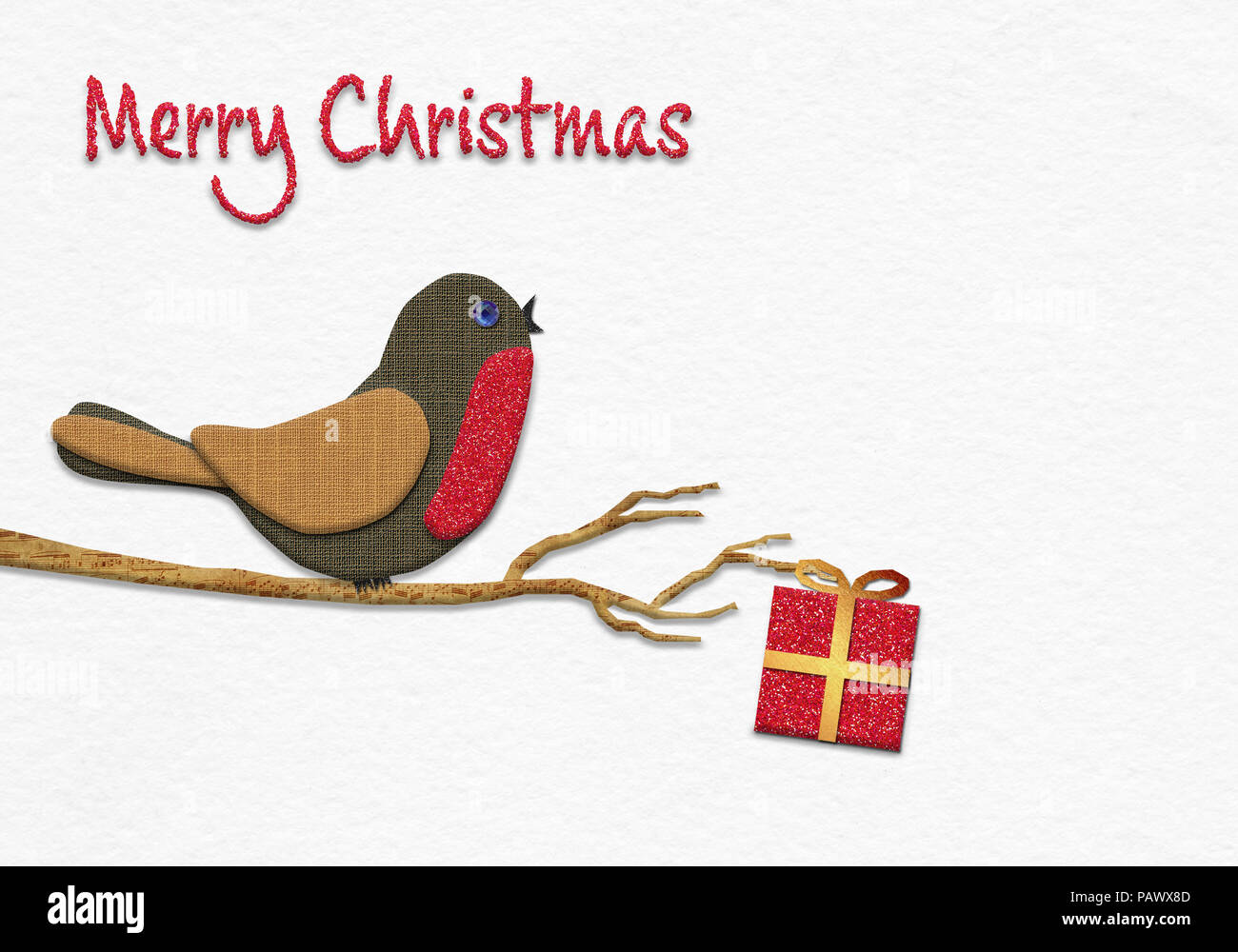 Merry Christmas message, Christmas Robin handmade from paper collage style concept illustration on handmade water colour paper background - Stock Image