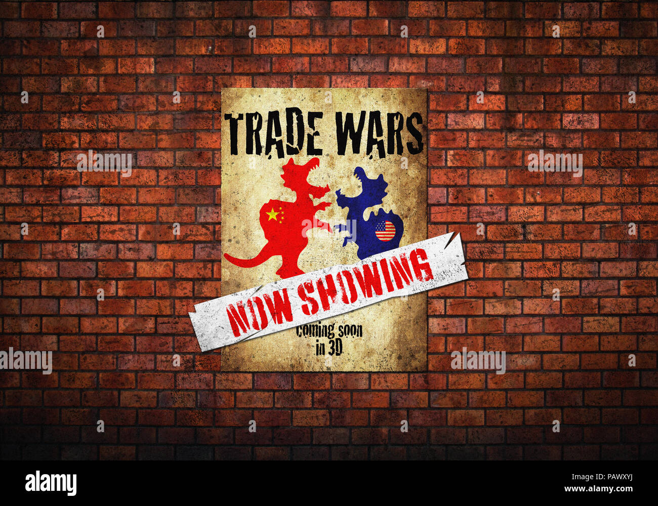 Trade War, Trade Wars Poster concept landscape on old brick wall America and China - Stock Image