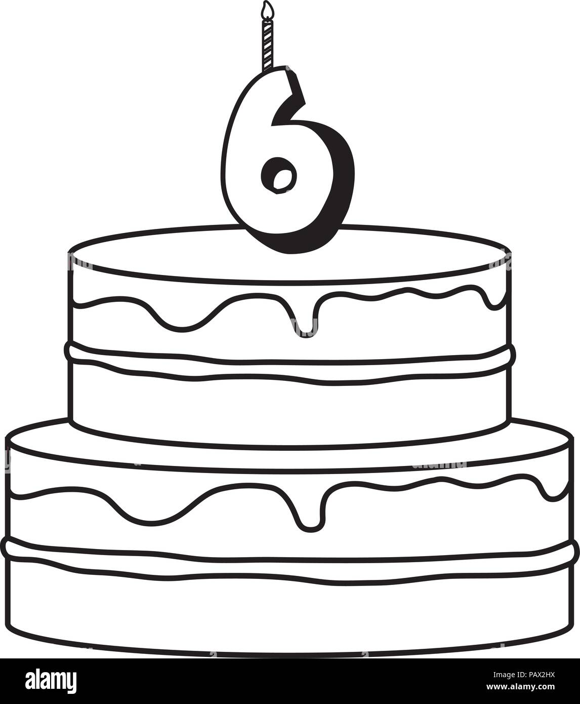 Awe Inspiring Birthday Cake With Number Six Candle Over White Background Vector Birthday Cards Printable Giouspongecafe Filternl