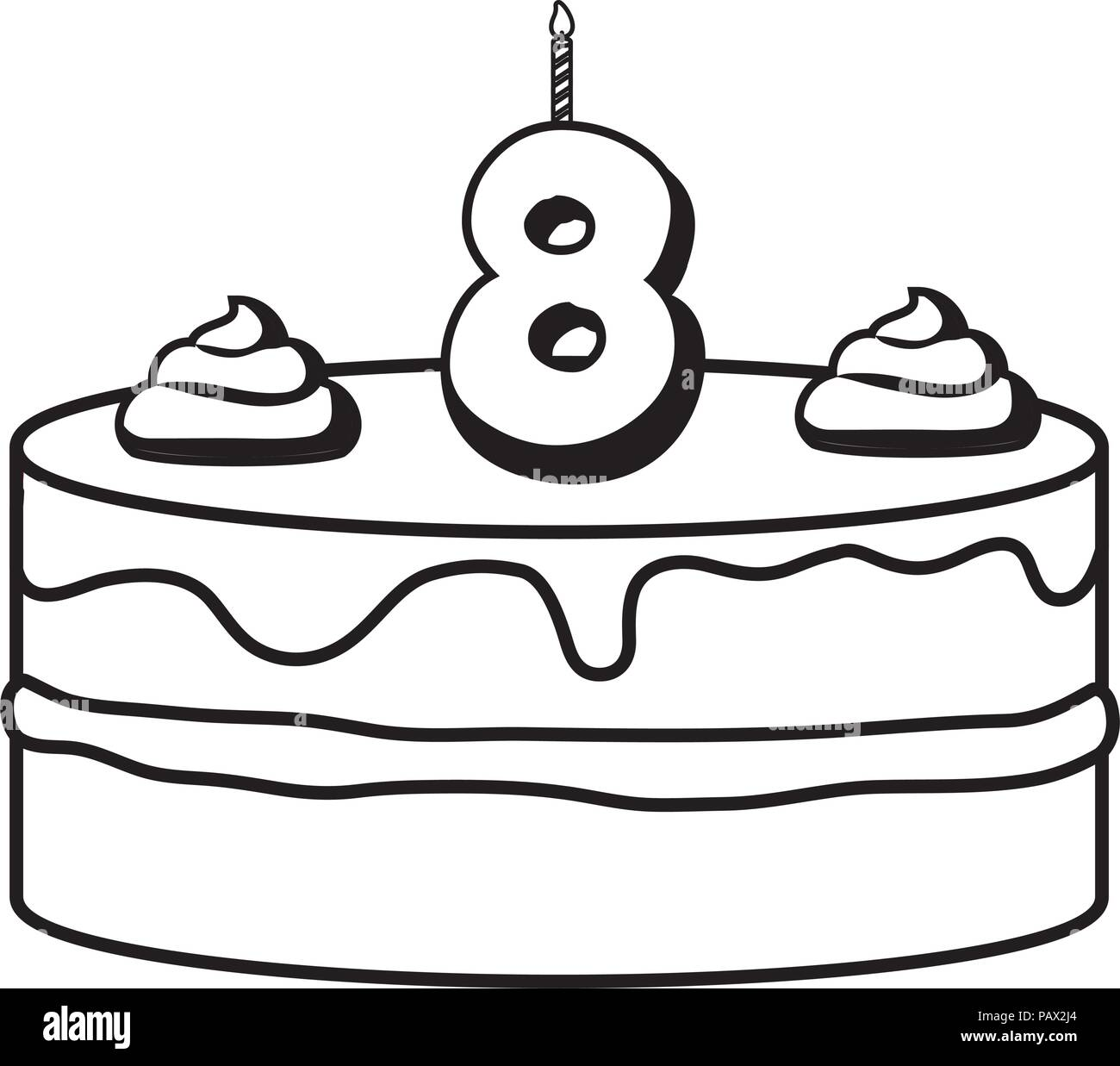 Terrific Birthday Cake With Number Eight Candle Over White Background Birthday Cards Printable Giouspongecafe Filternl