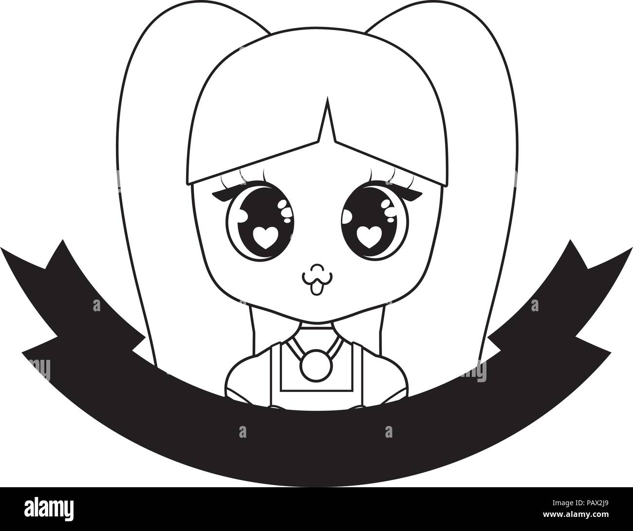Emblem With Cute Asian Girl Icon And Decorative Ribbon Over