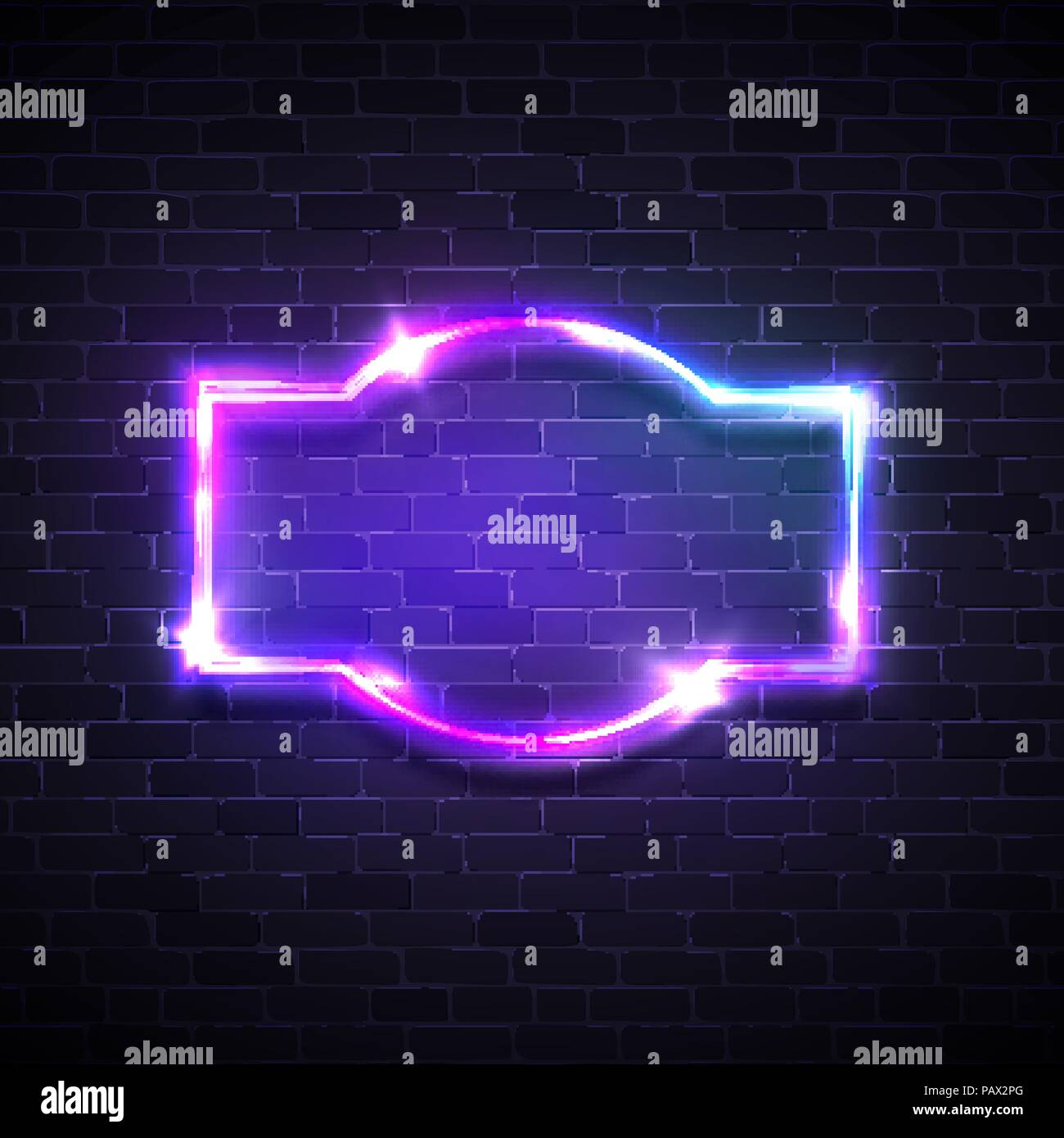 realistic neon led lights frame game show signage with glowing