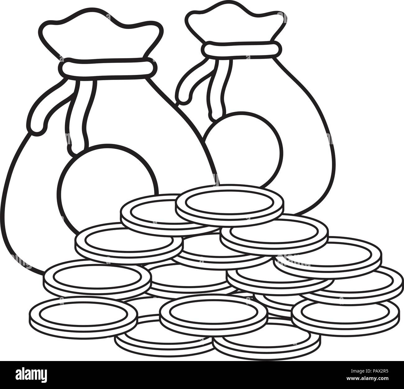 money sacks and coins  icon over white background, vector illustration - Stock Vector