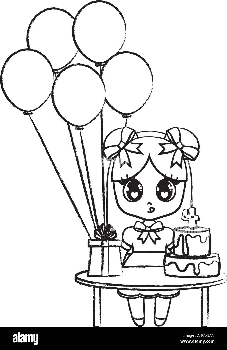 Awe Inspiring Happy Birthday Design With Asian Girl With Table With Balloons And Funny Birthday Cards Online Bapapcheapnameinfo