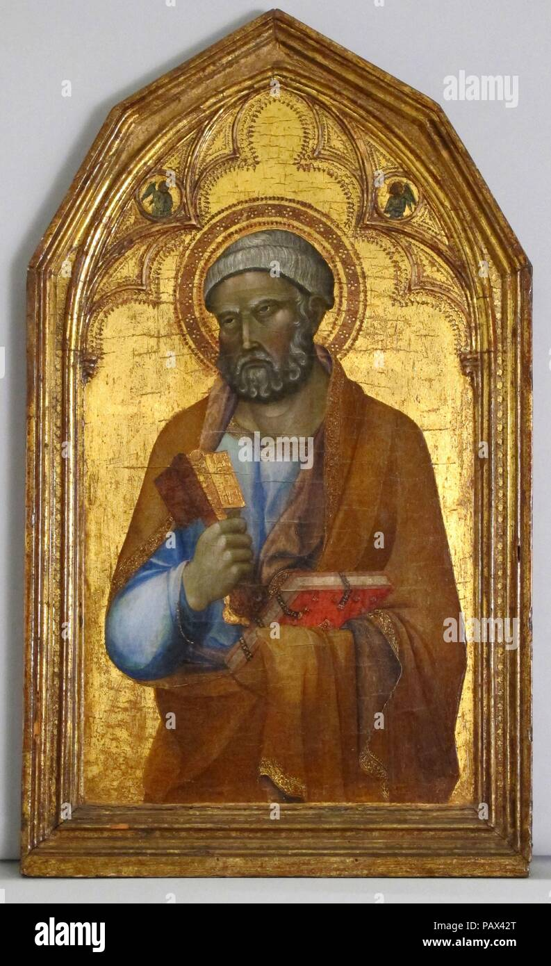 Engaged molding on a polyptych panel. Artist: Siena. Culture: Italian, Siena. Dimensions: Overall, 47.6 x 27.8 cm; sight, 39.6 x 21.6; engaged.. Date: ca. 1345.  Philip Lehman acquired this 'Saint Peter' and 1975.1.14b,'Saint Mary Magdelene', within two years of each other, in 1916 and 1918. By then, the tops had already been altered and the replacements interpreted in different ways. The triangular gables remian on four other panels from the same polyptych in the Pinacoteca Nazionale, Siena. The 'Saint John the Baptist' in Siena, along with the two Lehman panels, formed the right side of the  - Stock Image