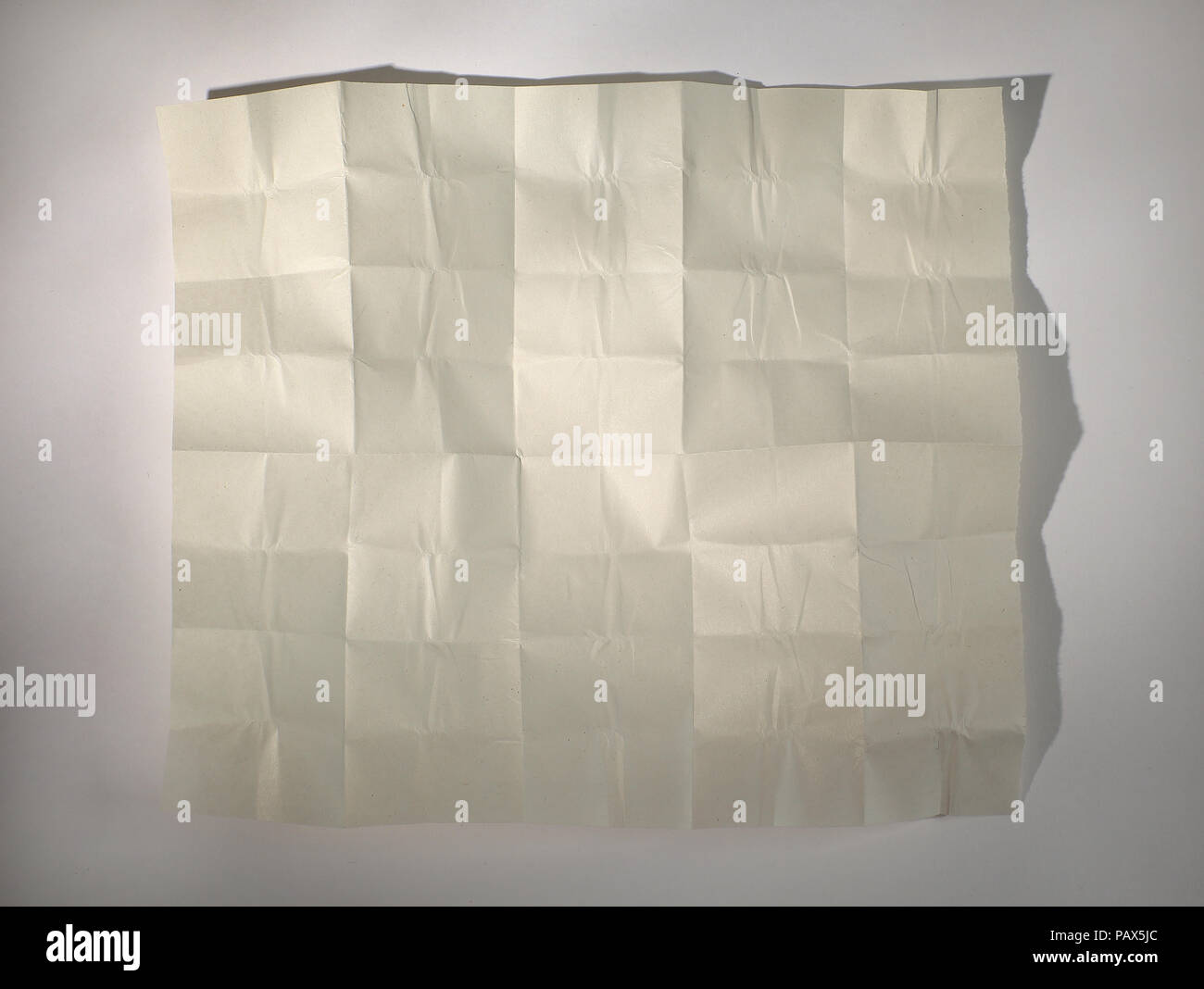 crumpled sheet of wrapping paper for the label - Stock Image