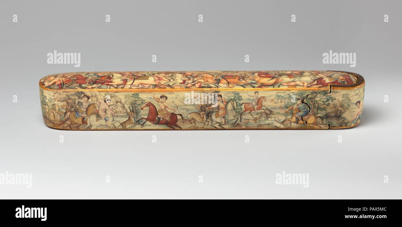 Pen Box (Qalamdan) Depicting Shah Isma'il in a Battle against the Uzbeks. Dimensions: H. 1 1/2 in. (3.8 cm)  W. 10 1/8 in. (25.7 cm)  D. 1 7/8 in. (4.8 cm). Date: early 19th century.  Painted in a harmonious palette of pastels with touches of gold on a cream-colored background, this pen box is an unusual and sensitively drawn example of Persian lacquer from the dawn of the nineteenth century, possibly by the master court painter Mirza Baba (active 1780s-1810) or an artist in his circle. The top depicts one of the battles between the first Safavid ruler, Shah Isma'il I (r. 1501-24), and the Ott Stock Photo
