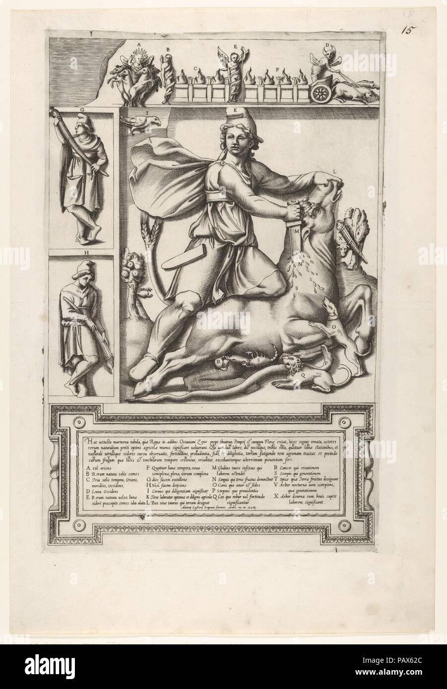 Relief with Mithras kneeling upon a bull and driving a sword into its shoulder, at left two smaller standing figures, one holding a sheathed sword and one holding a sword, a frieze with chariots and serpents coiled around figures above. Artist: Anonymous, Italian, 16th century. Dimensions: Plate: 15 15/16 x 10 3/8 in. (40.5 x 26.3 cm)  Sheet: 19 5/16 x 13 1/16 in. (49 x 33.2 cm). Publisher: Antonio Lafreri (French, Orgelet, Franche-Comte ca. 1512-1577 Rome). Date: 1564. Museum: Metropolitan Museum of Art, New York, USA. - Stock Image