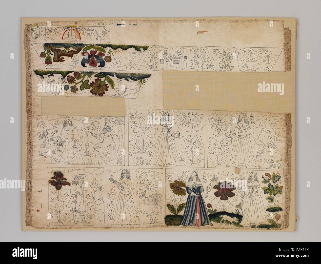 Unfinished cabinet panels. Culture: British. Dimensions: Overall: 17 1/2 × 22 in. (44.5 × 55.9 cm). Date: ca. 1660.  Rare unfinished pieces of embroidery like this one can reveal much about the process of planning and executing needlework. In this case, the squares and rectangles were intended to be cut out and applied to a wooden box frame to make a small cabinet. The design was drawn on the silk foundation with ink. It is likely that some details were meant to be left unembroidered, as suggested by the painted pale pink cheeks of the woman in the blue dress and her reflection in the mirror s - Stock Image
