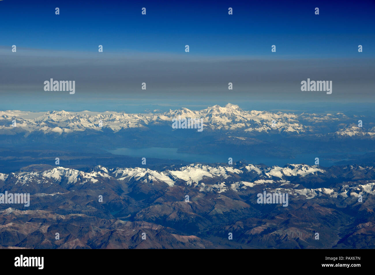 aerial view of patagonias highest peak, Monte San Valentin, 4058 m, at the northern end of the huge northern patagonian ice field - Stock Image
