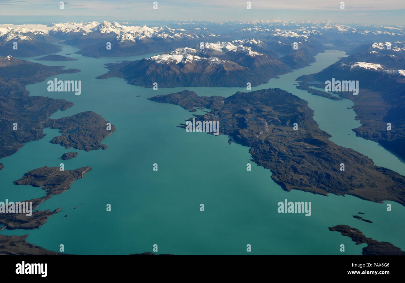 Aerial view of Lago San Martin, Patagonia, or Lago O'Higgins, and the Southern Patagonian Ice Field. Argentina and Chile - Stock Image
