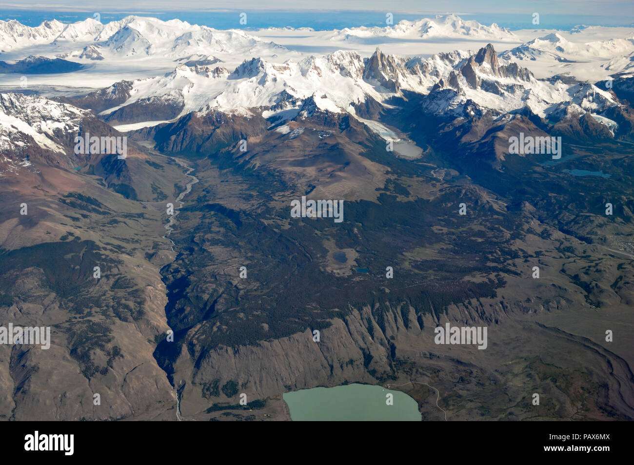 aerial view of mountains Fitz Roy, Cerro Torre, volcano Lautaro and the southern patagonian ice field, Patagonia, between Chile and Argentina - Stock Image