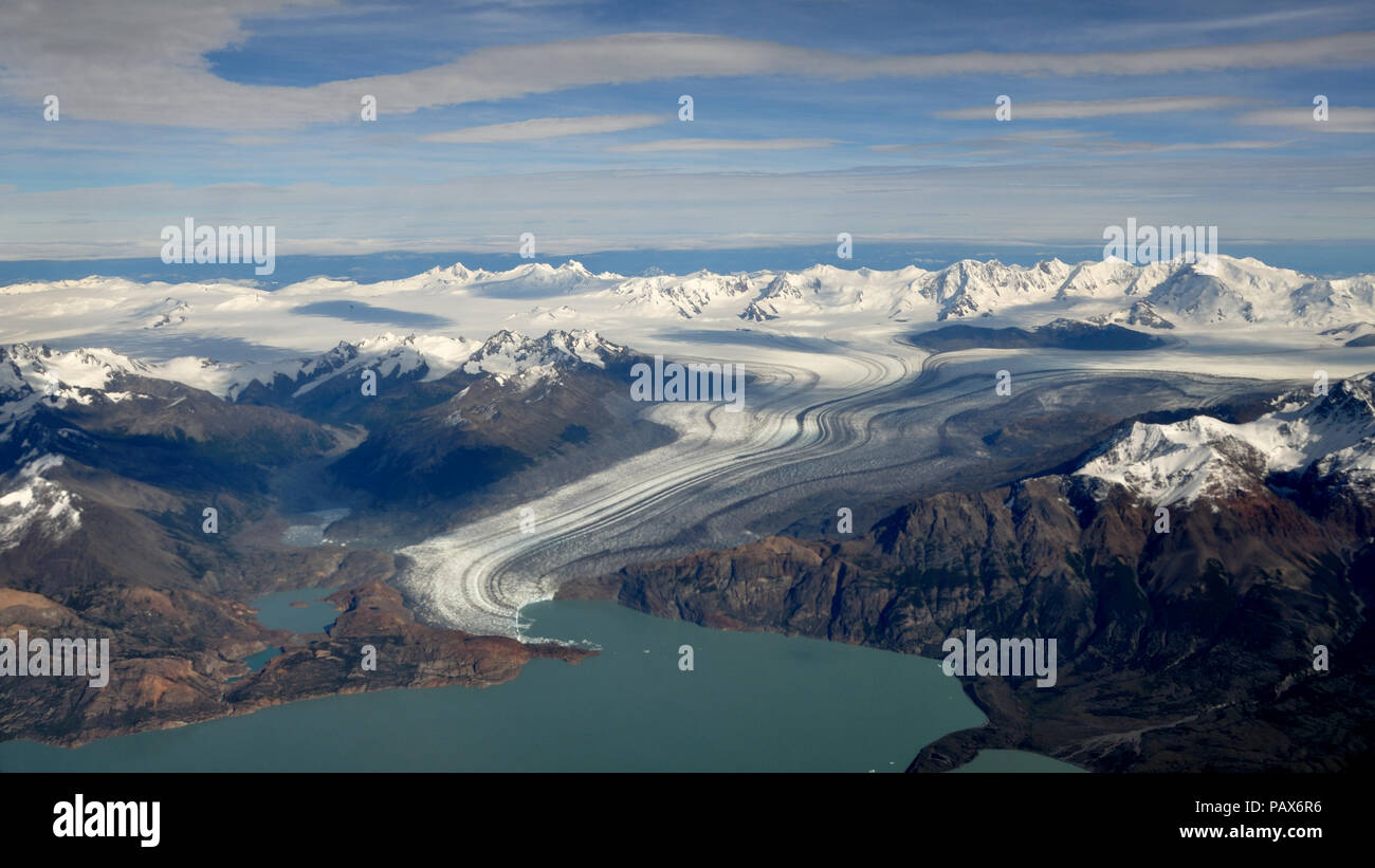 aerial view of Viedma glacier with Cordon Mariano Moreno at the Southern Patagonian ice field, near El Chalten, Patagonia, Argentina - Stock Image