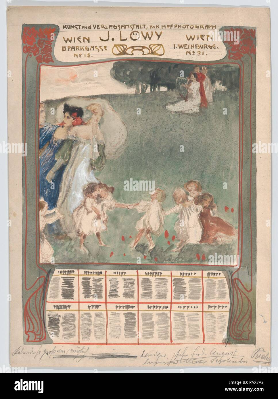 Design for a poster of calendar for J. Löwy, Vienna. Artist: Erwin Puchinger (Austrian, Vienna 1875-1944 Vienna). Dimensions: Sheet: 17 5/16 × 12 7/16 in. (43.9 × 31.6 cm). Museum: Metropolitan Museum of Art, New York, USA. - Stock Image