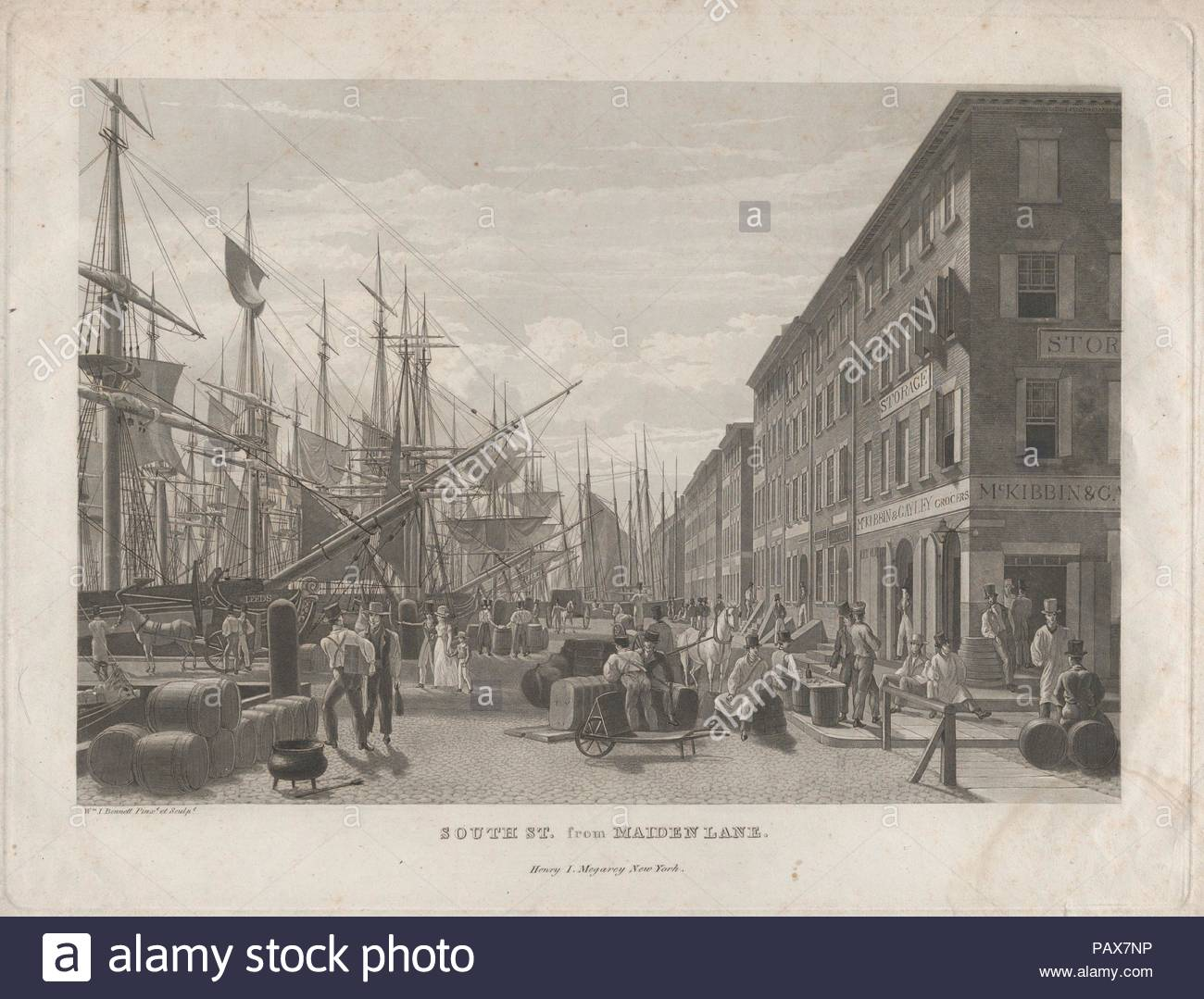 South St. from Maiden Lane. Artist: William James Bennett (American, London 1787-1844 New York). Dimensions: Sheet: 13 3/8 × 18 3/4 in. (33.9 × 47.6 cm)  Plate: 11 5/8 × 15 3/8 in. (29.5 × 39 cm). Publisher: Henry J. Megarey (American, 1818-1845 New York). Date: 1834.  New York view from 1828. Issued in 'Megarey's Street Views in the City of New-York, 1834: South Street from Maiden Lane.'. Museum: Metropolitan Museum of Art, New York, USA. - Stock Image