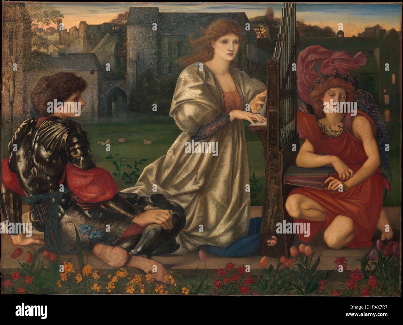 "The Love Song. Artist: Sir Edward Burne-Jones (British, Birmingham 1833-1898 Fulham). Dimensions: 45 x 61 3/8 in. (114.3 x 155.9 cm). Date: 1868-77.  Burne-Jones associated this painting with a refrain from a Breton folk ballad: ""Alas, I know a love song, / Sad or happy, each in turn."" Drawing inspiration from the gothicizing Pre-Raphaelite movement, the artist conjured a twilight scene with a richly romantic, medieval air, enhanced by allusions to Italian Renaissance art, from the warm, dewy colors to the gracious figures and original frame, which recalls sixteenth-and-seventeenth-century Ven Stock Photo"