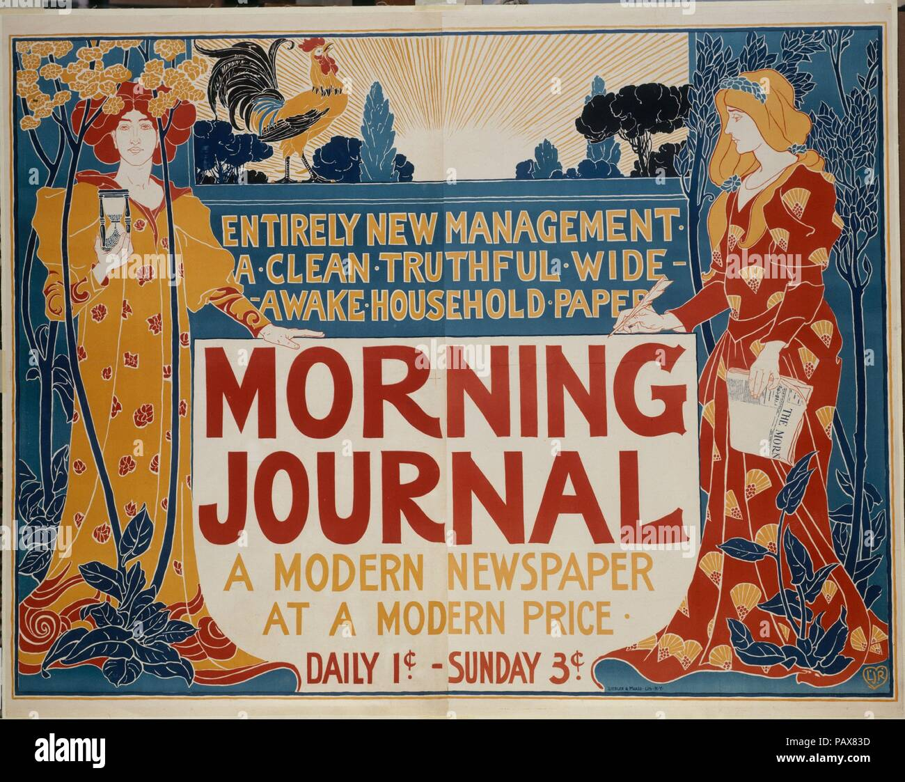 Morning Journal. Artist: Louis John Rhead (American (born England), Etruria 1857-1926 Amityville, New York). Dimensions: Sheet: 46 9/16 × 58 11/16 in. (118.3 × 149.1 cm)  Image: 44 5/16 in. × 58 in. (112.6 × 147.3 cm). Printer: Liebler & Maass Lith., New York. Publisher: The New York Journal. Date: 1895. Museum: Metropolitan Museum of Art, New York, USA. - Stock Image