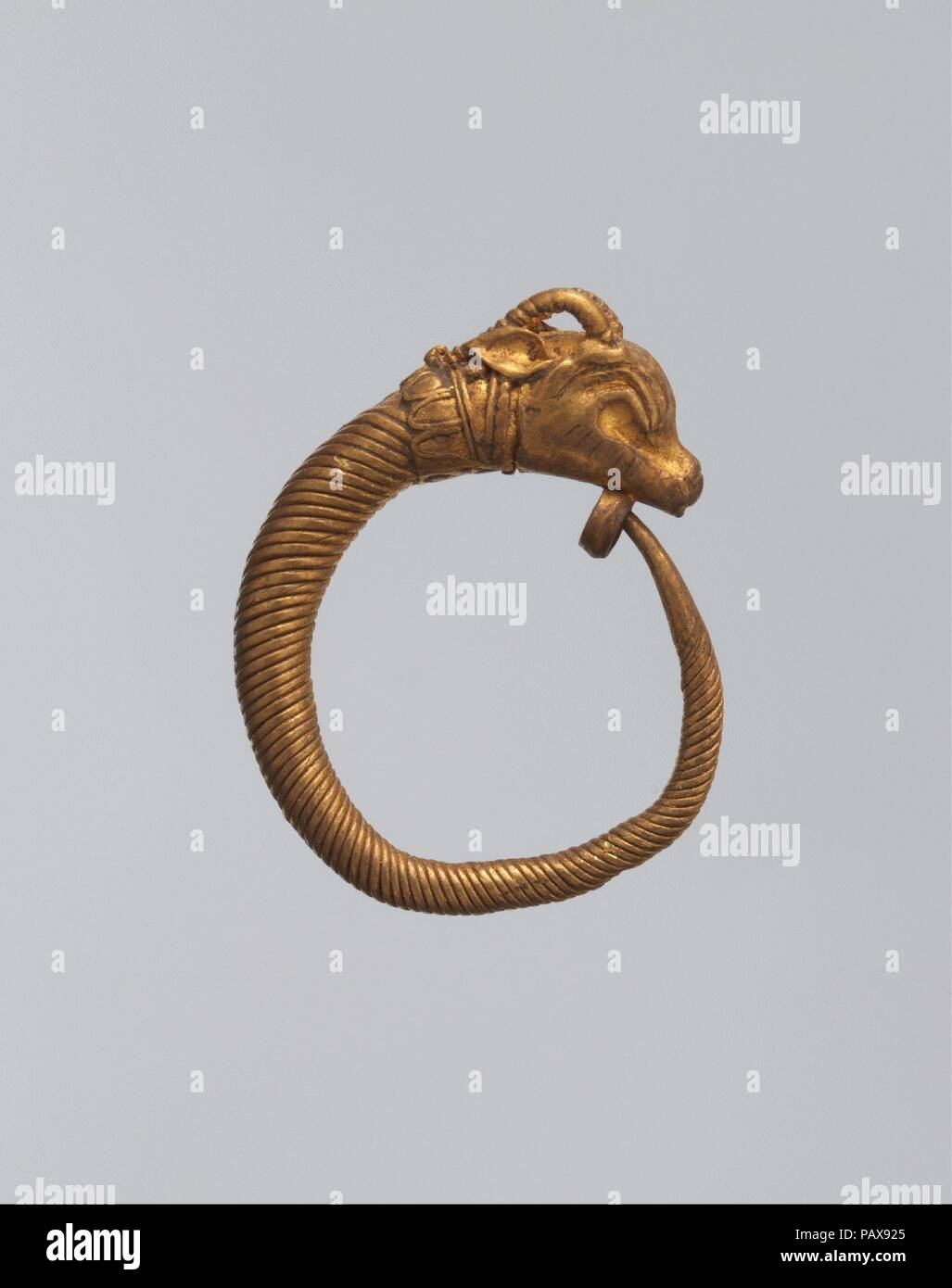 Earring with ibex head. Dimensions: As Worn: H. 1.9 × W. 2 cm (3/4 ...