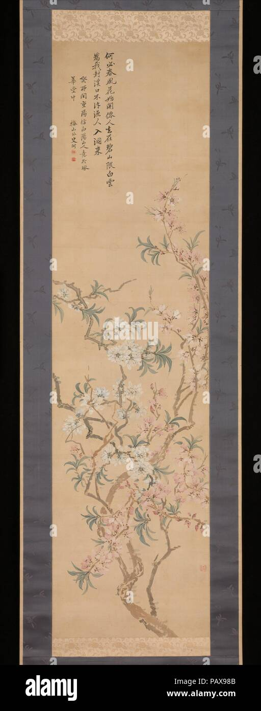 Red and White Peach Blossoms. Artist: Tsubaki Chinzan (Japanese, 1801-1854). Culture: Japan. Dimensions: Image: 55 1/2 x 14 5/8 in. (141 x 37.1 cm)  Overall with mounting: 85 3/4 x 24 1/4 in. (217.8 x 61.6 cm). Date: 1843.  This pair of scrolls (with 1975.268.116) provides a unique insight into the studio process of a painter working in the later phase of the Nanga tradition. The scroll on the right is a shita-e, or preparatory sketch, for the completed work on the left. Tsubaki Chinzan constructed the composition using a collage method: the branches on the upper left, for example, appear to h - Stock Image