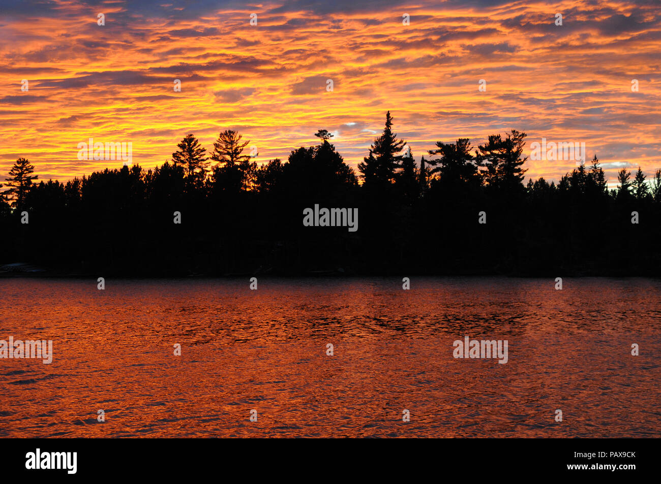 Sunset on Lake One in the Boundary Waters Canoe Area near Ely, Minnesota, USA - Stock Image
