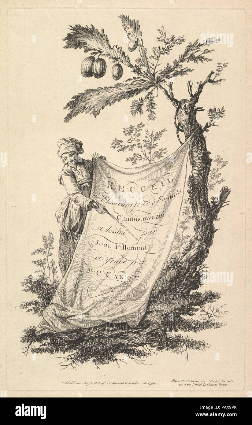 Title page: a smiling man holds a corner of a cloth tied to a fig tree and points with a stick to the cloth's inscription, from 'Recueil de plusieurs jeux d'enfants chinois' after Jean Pillement. Artist: Pierre Charles Canot (French, Paris 1710-1777 Kentish Town, London (active England)); After Jean Pillement (French, Lyons 1728-1808 Lyons). Dimensions: sheet: 19 3/16 x 12 15/16 in. (48.7 x 32.8 cm)  plate: 15 7/8 x 9 13/16 in. (40.4 x 25 cm). Publisher: Charles Leviez (French, 1708-1778). Series/Portfolio: Recueil de plusieurs jeux d'enfants chinois. Date: 1759. Museum: Metropolitan Museum of Stock Photo