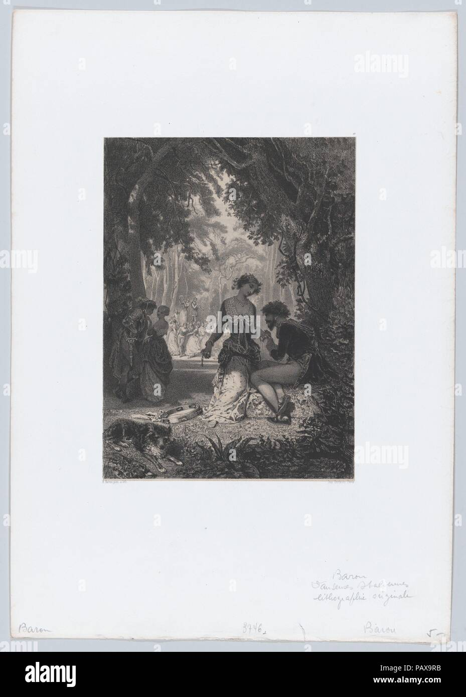 Love Sermons. Artist: Henri-Charles-Antoine Baron (French, Besançon 1816-1885 Geneva). Dimensions: Sheet: 17 5/8 × 12 5/16 in. (44.8 × 31.3 cm)  Image: 9 9/16 in. × 7 in. (24.3 × 17.8 cm). Printer: Bertauts. Series/Portfolio: Les Artistes Contemporains. Date: 1853. Museum: Metropolitan Museum of Art, New York, USA. - Stock Image