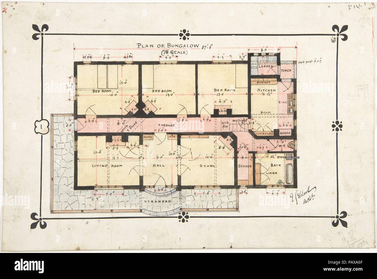 Bungalow Drawing Floor Plan Artist Ernest Geldart British