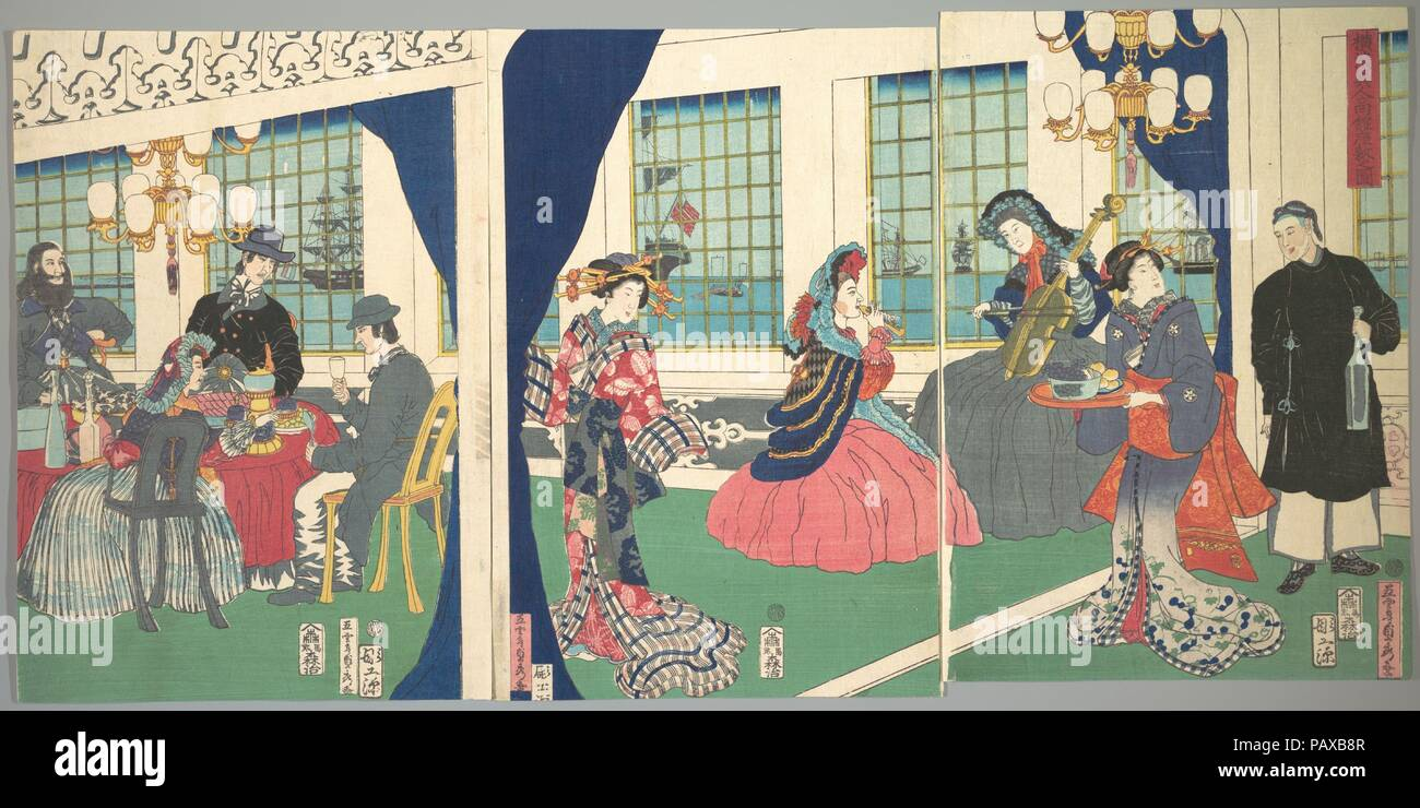 Foreigners in the Drawing Room of Foreign Merchant's House in Yokohama. Artist: Utagawa (Gountei) Sadahide (Japanese, 1807-1878/79). Culture: Japan. Dimensions: Image (a): 14 x 9 3/4 in. (35.6 x 24.8 cm)  Image (b): 14 x 9 3/8 in. (35.6 x 23.8 cm)  Image (c): 14 x 10 7/8 in. (35.6 x 27.6 cm). Date: 9th month, 1861.  The unexpected arrival of the American Commodore Matthew Perry (1794--1858) in Tokyo in 1853 truly astonished the Japanese people, who had been isolated from the rest of the world for more than 200 years, since the national seclusion act of 1639. Rapidly following Perry's visit, th - Stock Image