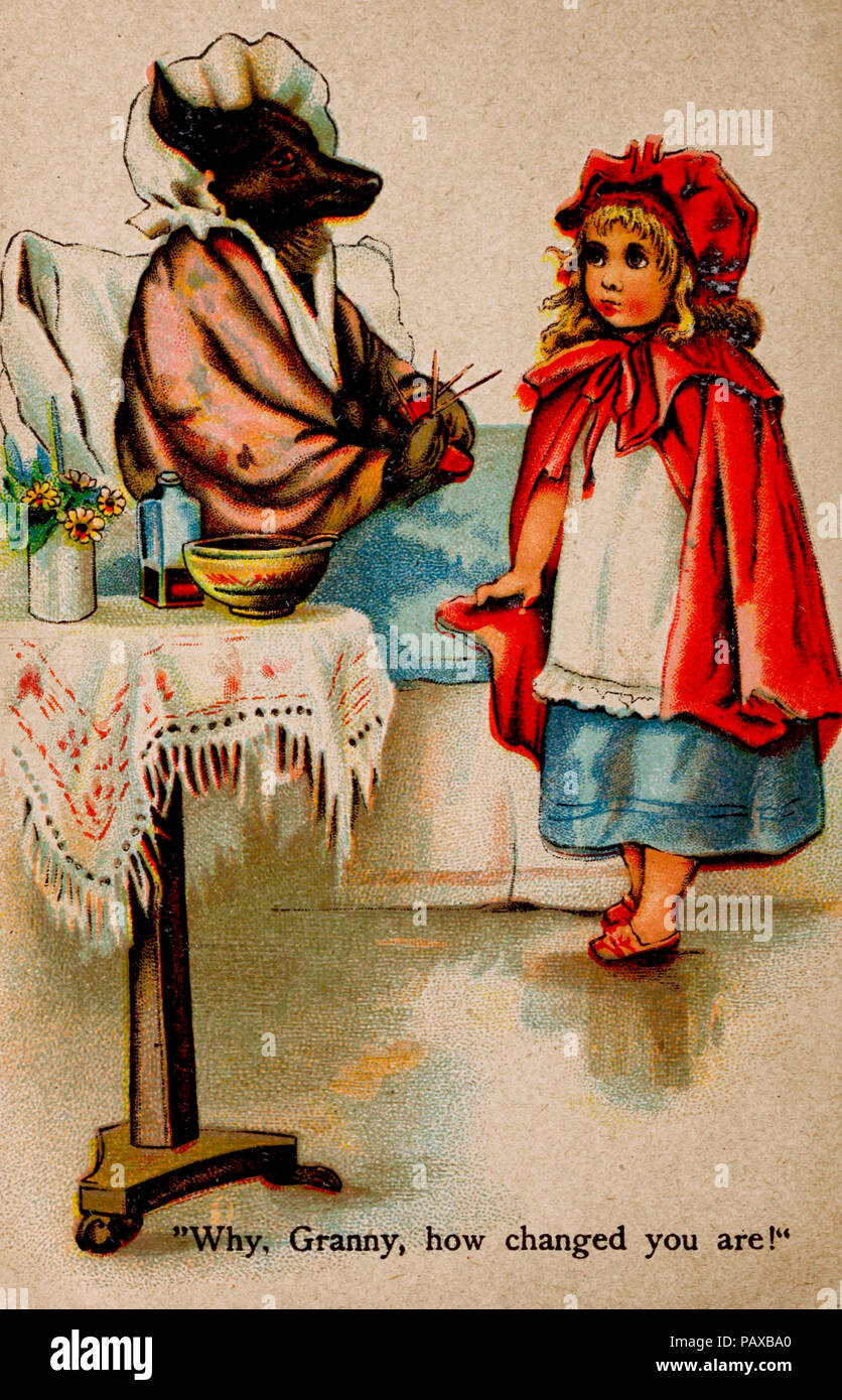 Why, Granny, how changed you are - Scene from Little Red Riding Hood - Stock Image