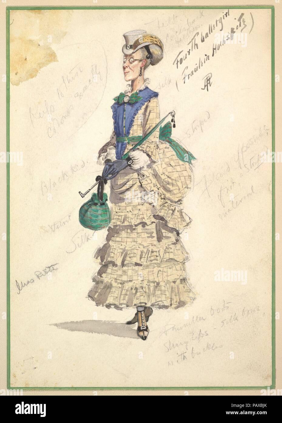 Costume Design for  Fourth Ballet Girl (Fraülein Hochspitz)  (in long beige  gown). Artist  Percy Anderson (British cec860d4af4
