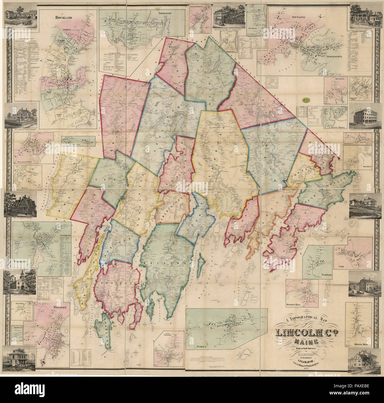 A Topographical Map Of Lincoln Co Maine From Actual Surveys Stock