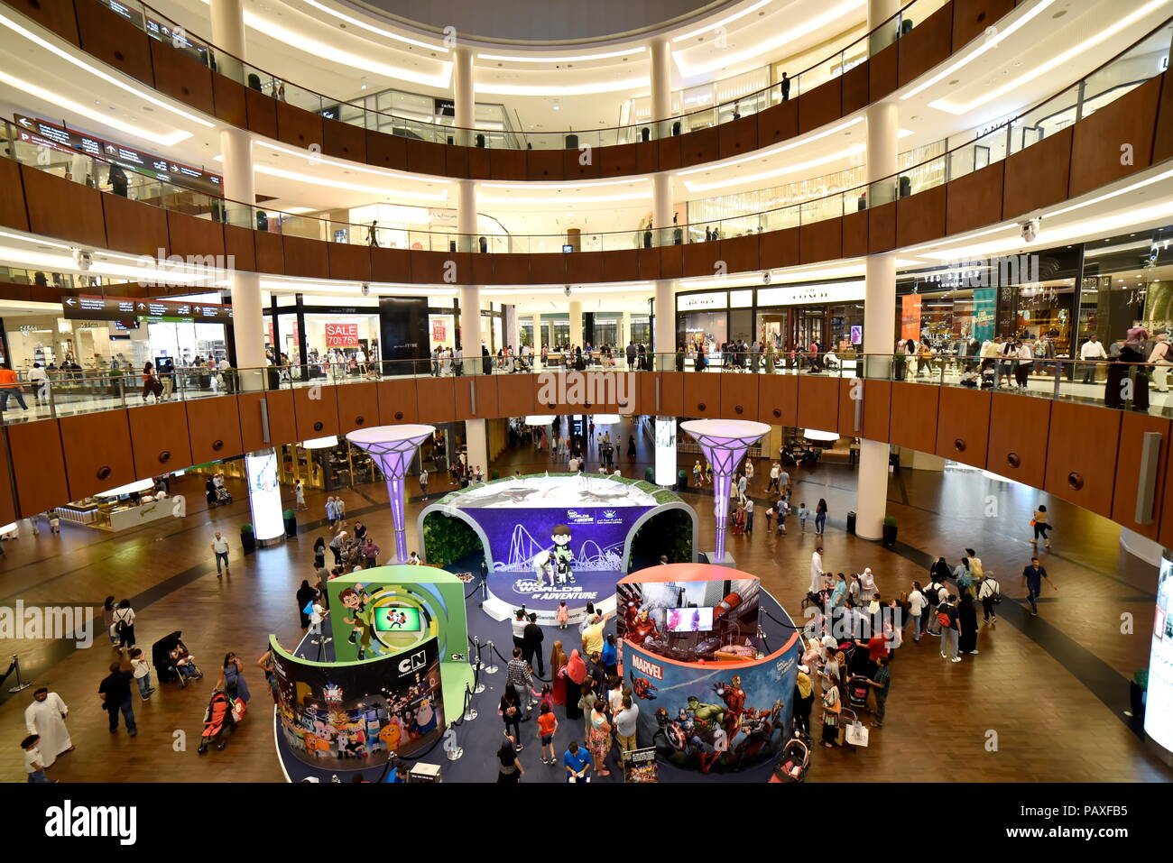 Dubai, United Arab Emirates – July 23, 2018, The Dubai Mall located in Downtown Dubai, beside the Burj Kalifa, biggest Mall In UAE, With a total inter - Stock Image