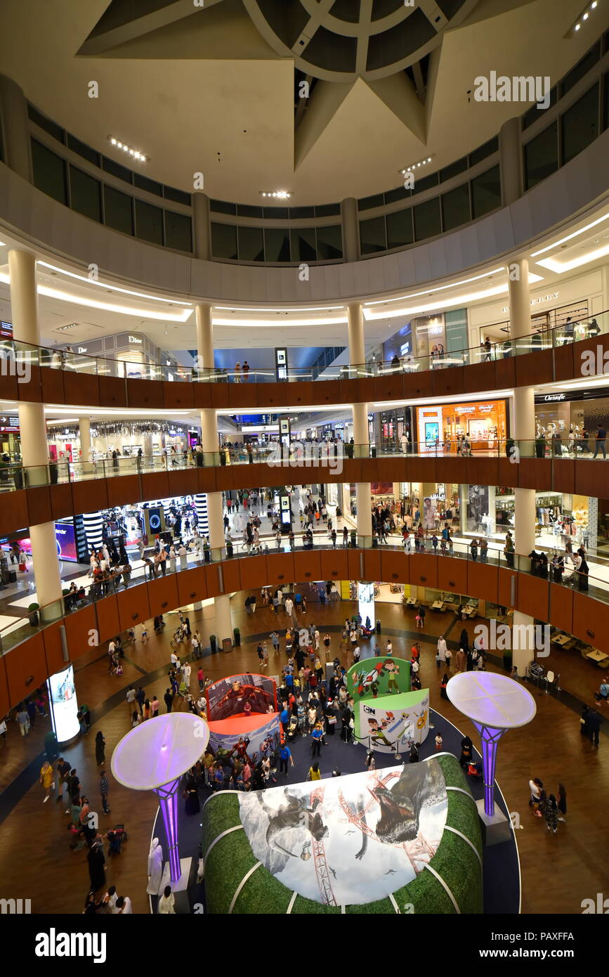 Dubai, United Arab Emirates – July 23, 2018, The Dubai Mall located in Downtown Dubai, beside the Burj Kalifa, biggest Mall In UAE, With a total inter Stock Photo