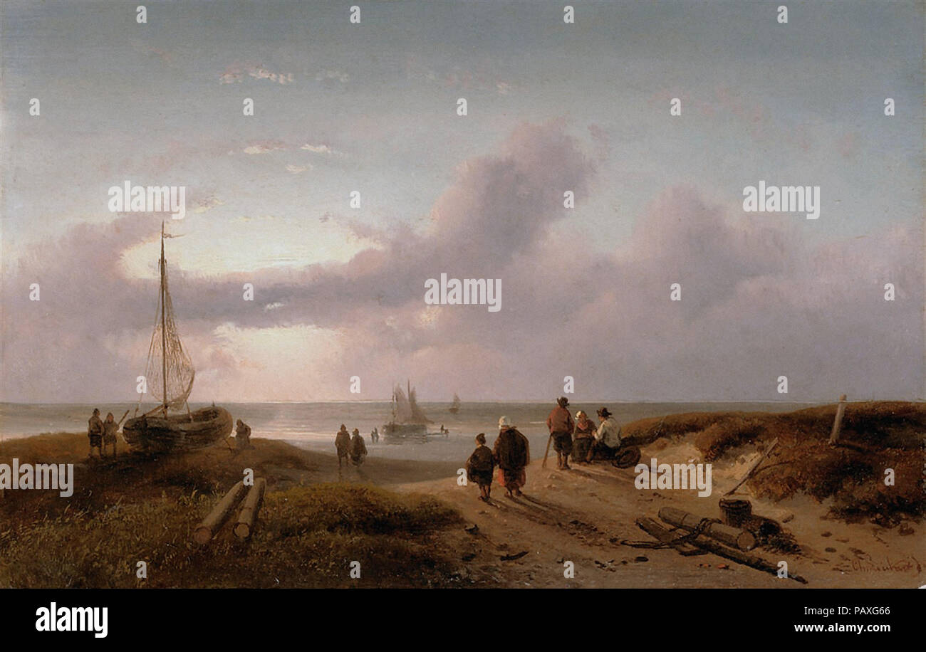 Leickert  Charles Henri Joseph - Fishermen Enjoying the Sunset - Stock Image