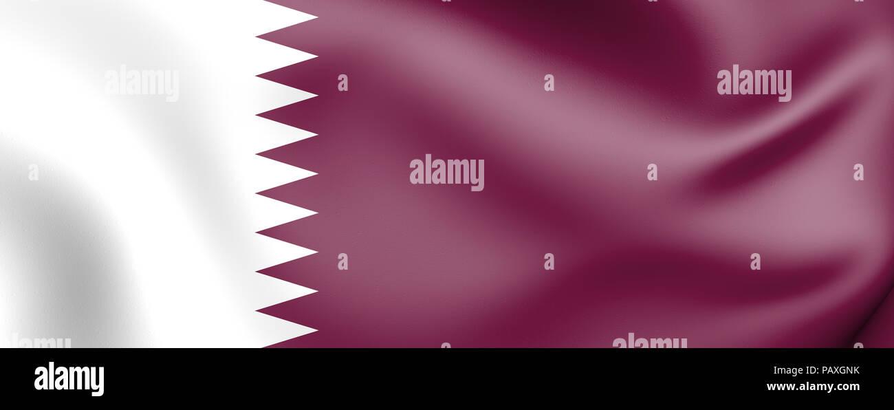 3D Flag of Qatar. 3D Illustration. Stock Photo