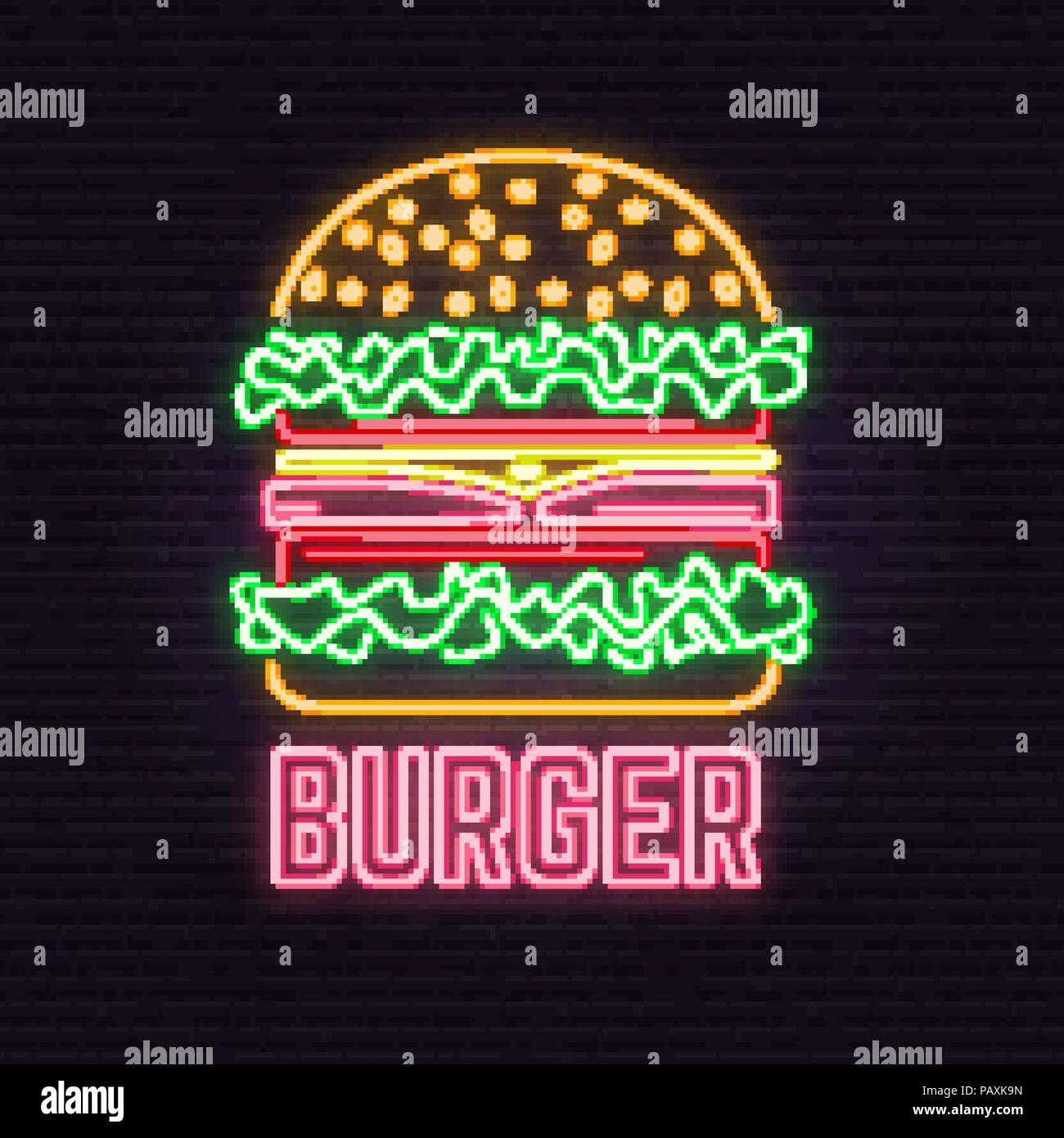 Retro Neon Burger Sign On Brick Wall Background. Design