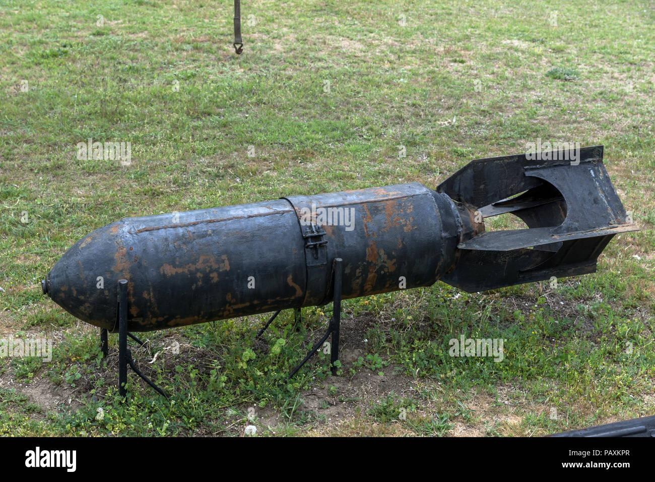 KRUMOVO, PLOVDIV, BULGARIA - 29 APRIL 2017: Aviation bomb in Aviation Museum near Plovdiv Airport, Bulgaria Stock Photo