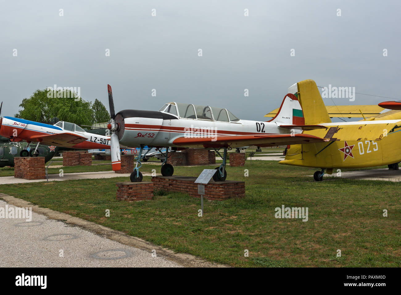 KRUMOVO, PLOVDIV, BULGARIA - 29 APRIL 2017: Plane Yakovlev Yak-52 in Aviation Museum near Plovdiv Airport, Bulgaria - Stock Image
