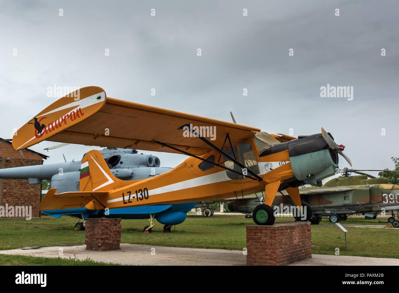 KRUMOVO, PLOVDIV, BULGARIA - 29 APRIL 2017: Plane LZ - 130 in Aviation Museum near Plovdiv Airport, Bulgaria Stock Photo
