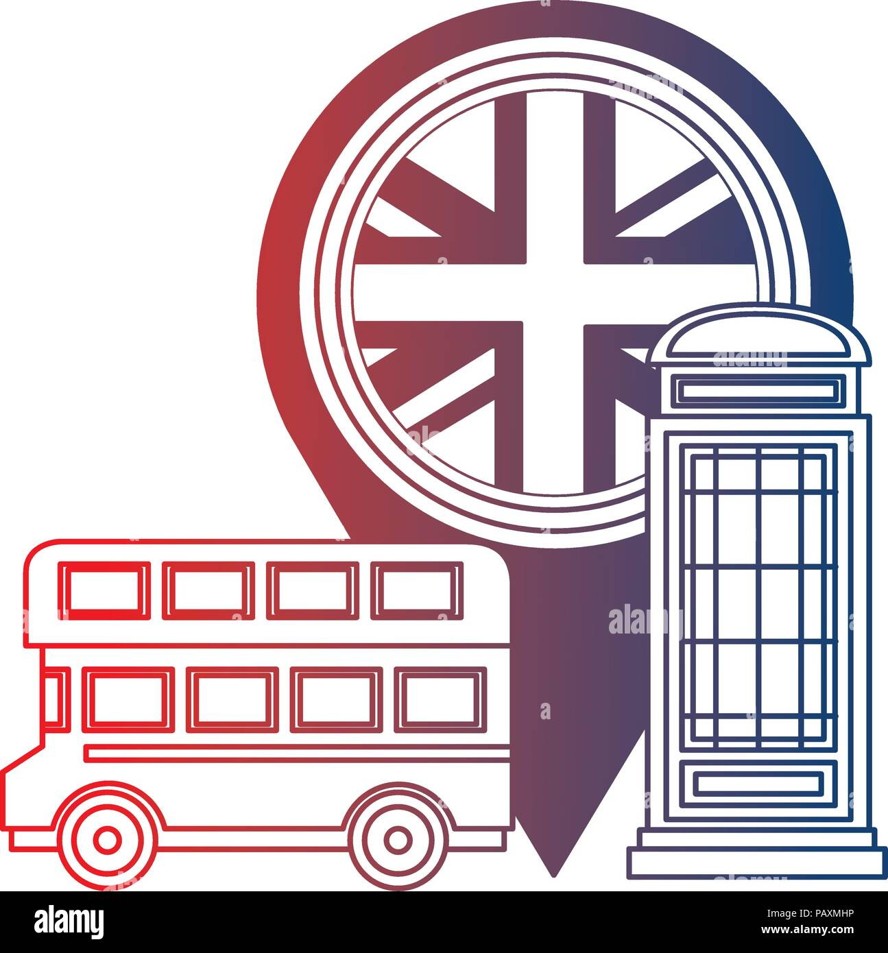 bus transport of great britain with set icons stock vector art
