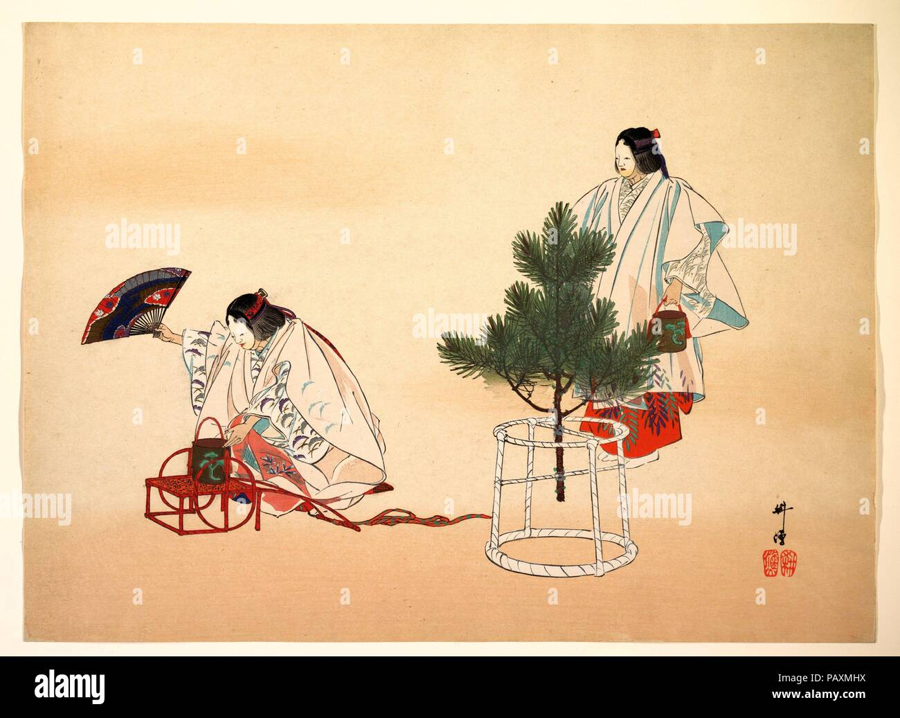 Scene from the Noh play 'Matsukaze'. Artist: Tsukioka Kogyo (Japanese, 1869-1927). Culture: Japan. Dimensions: 14 1/2 x 20 in. (36.8 x 50.8 cm). Date: ca. 1910.  In Matsukaze, still one of the most frequently performed Noh plays, masked actors in gorgeous robes evoke the tragic love of the two sisters Matsukaze and Murasame with only simple buckets as props. Museum: Metropolitan Museum of Art, New York, USA. - Stock Image
