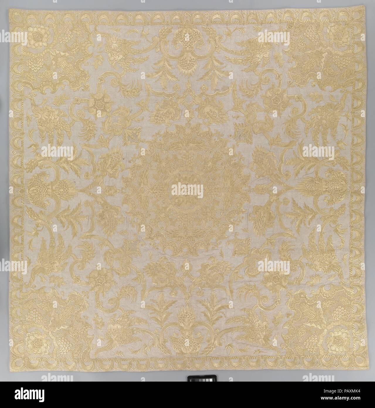 Bedspread  Culture: British  Dimensions: L  62 x W  60 inches (157 5