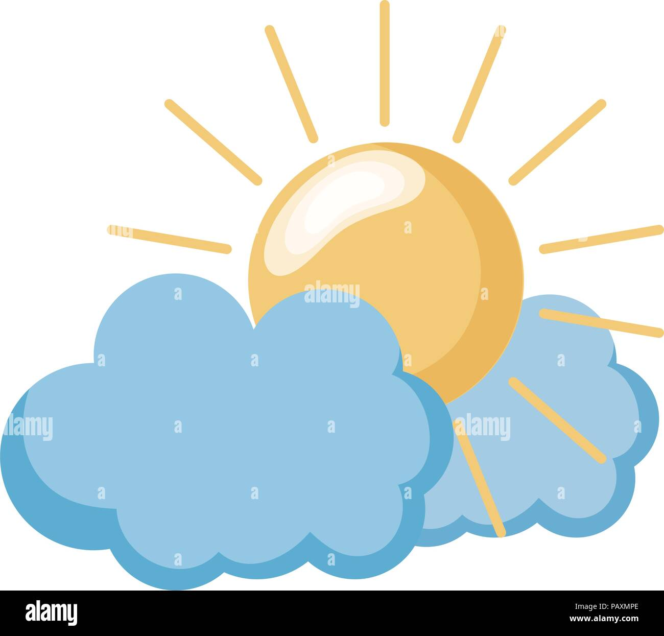 nature sun weather with fluffy clouds - Stock Vector