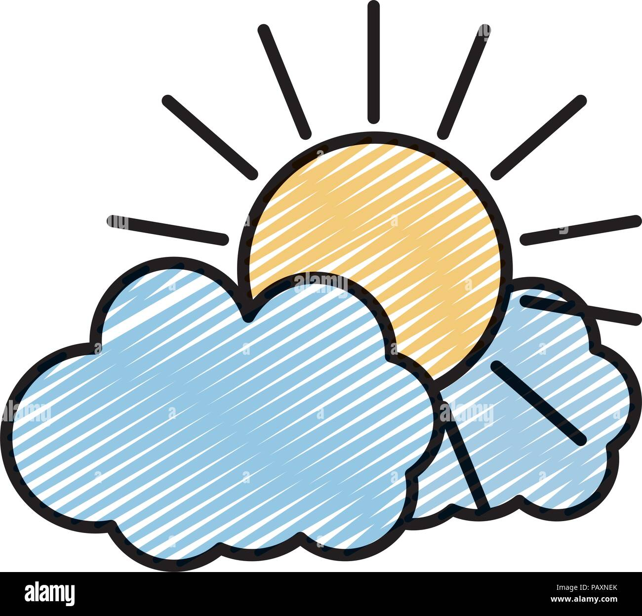 doodle nature sun weather with fluffy clouds - Stock Image