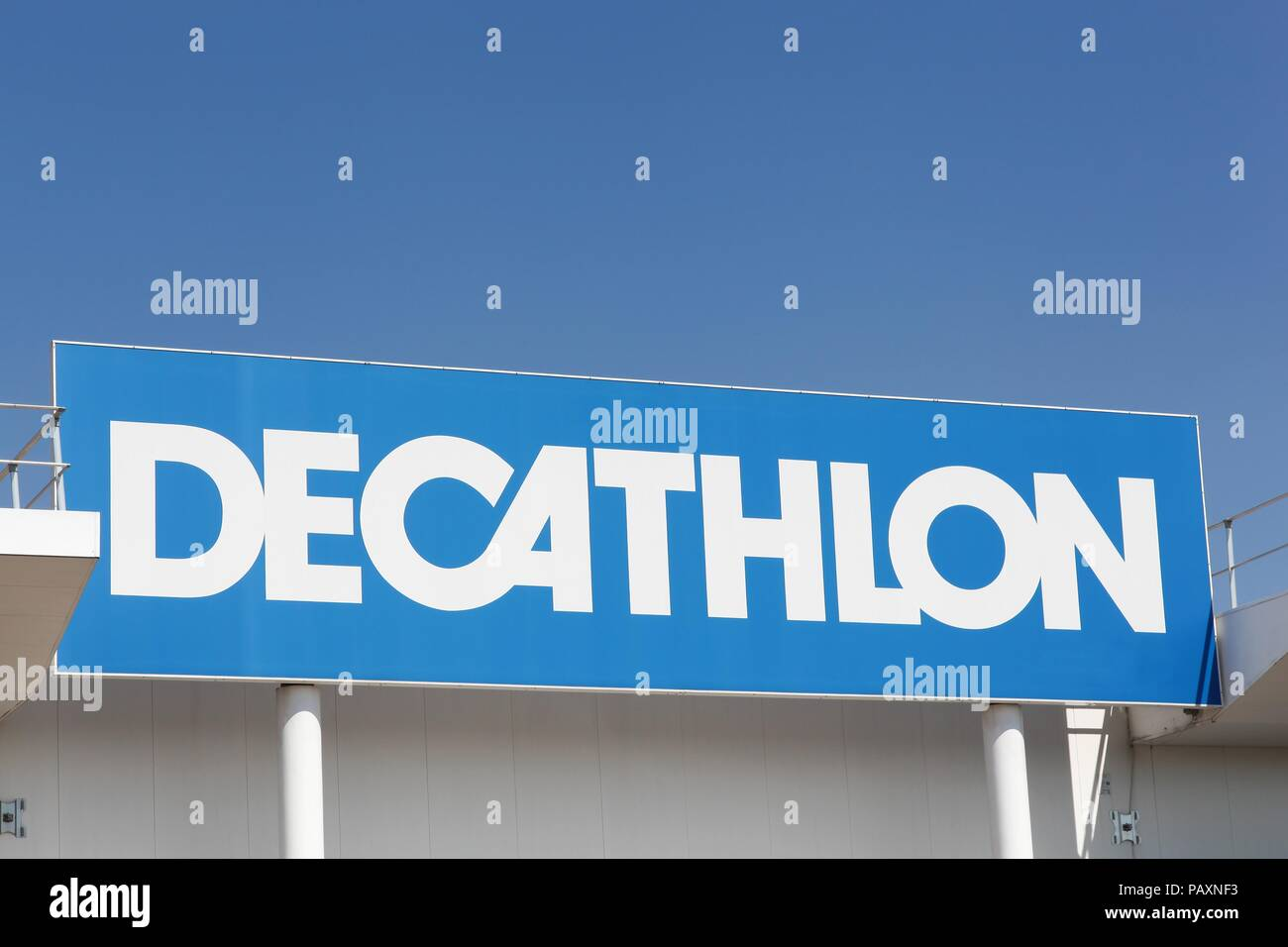 Limonest, France - July 19, 2018: Decathlon sign on a wall