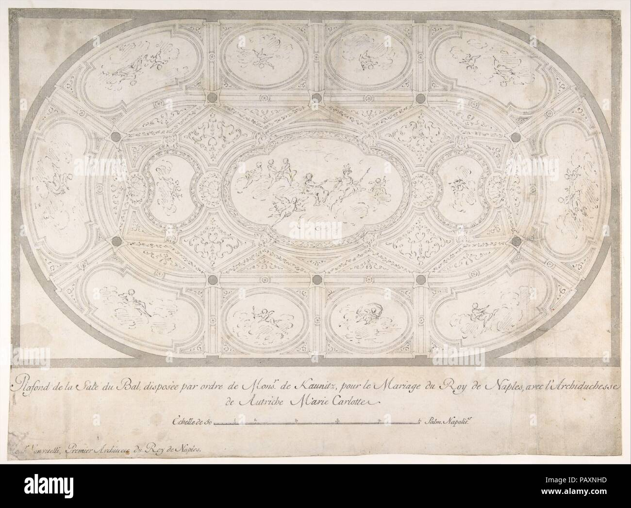 Ceiling of Ballroom decorated for the Marriage of the King of Naples to the Archduchess of Austria. Artist: Luigi Vanvitelli (Italian, Naples 1700-1773 Caserta) , workshop of. Dimensions: 13-3/16 x 18-1/16 in.  (33.5 x 45.8 cm). Date: 1700-1773. Museum: Metropolitan Museum of Art, New York, USA. Stock Photo