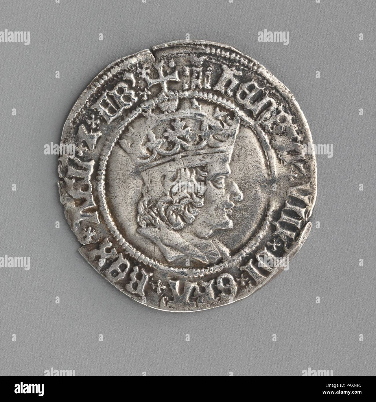 Groat of Henry VIII (first coinage). Culture: British. Dimensions: Diameter: 15/16 in. (24 mm). Date: 1509-26. Museum: Metropolitan Museum of Art, New York, USA. - Stock Image