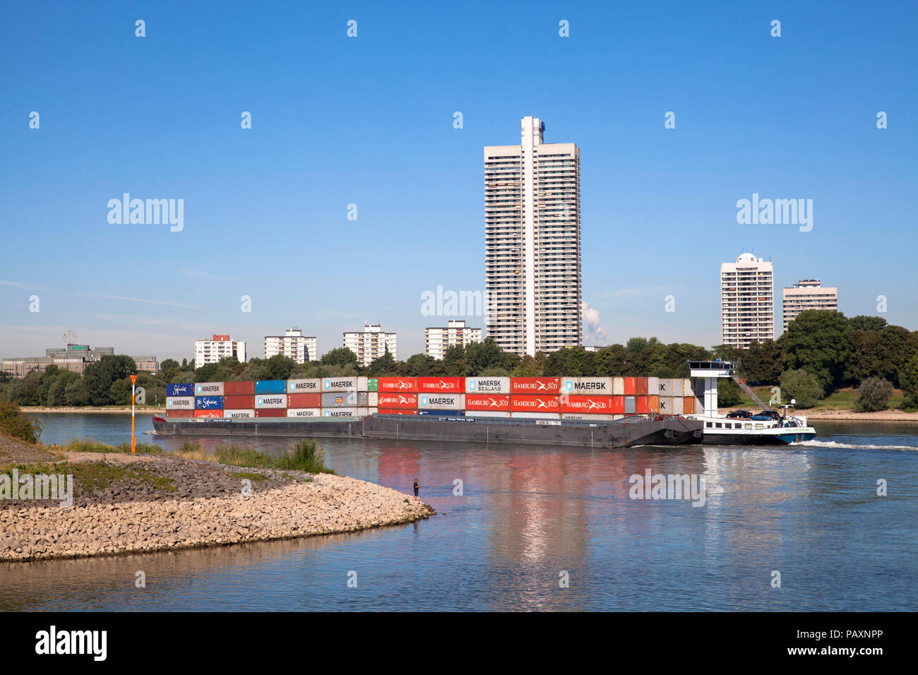the skyscraper Colonia-House in the district Riehl, river Rhine, container vessel, Cologne, Germany,  das Colonia-Haus im Stadtteil Riehl, Rhein, Cont Stock Photo